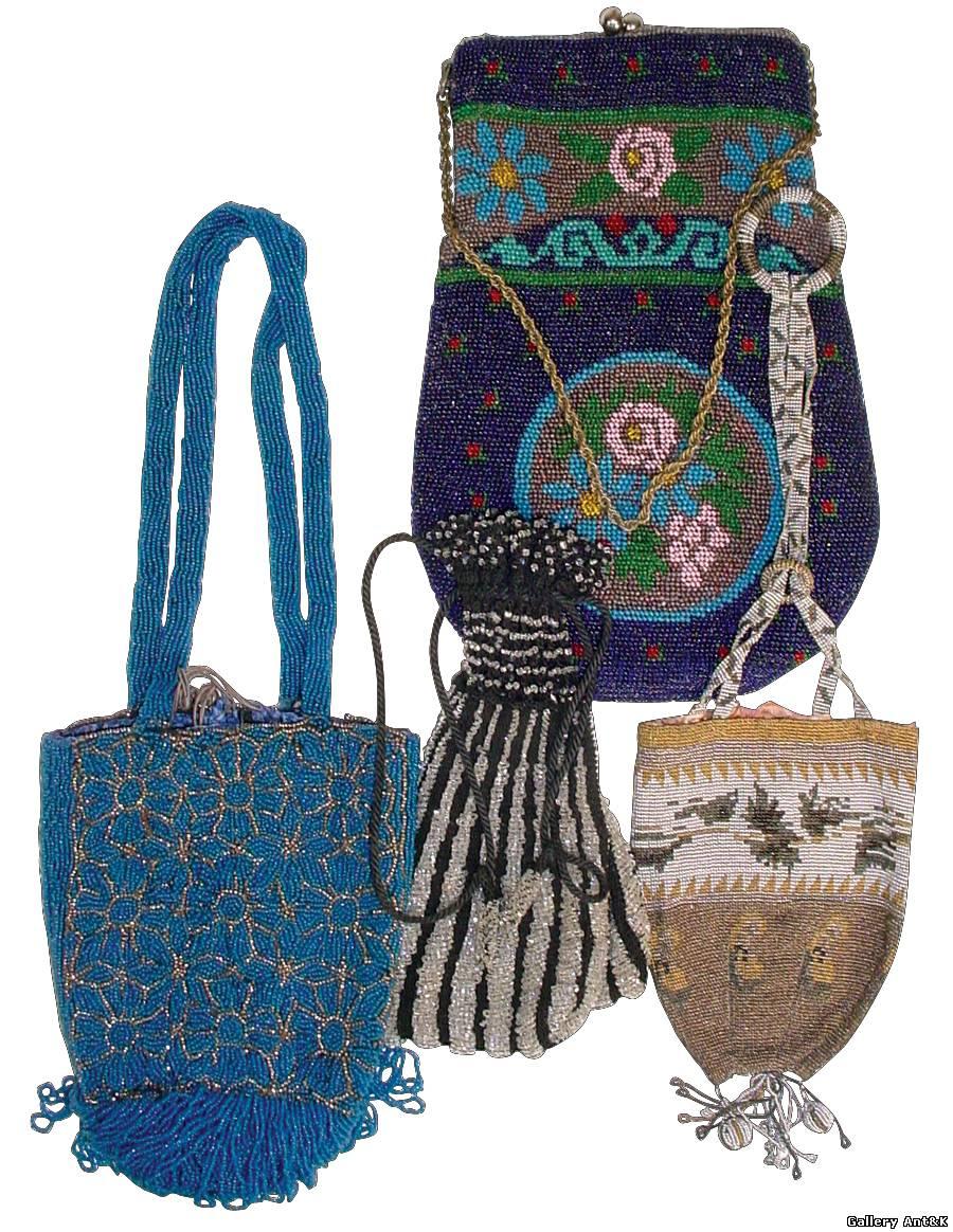 Старинные дамские сумочки.